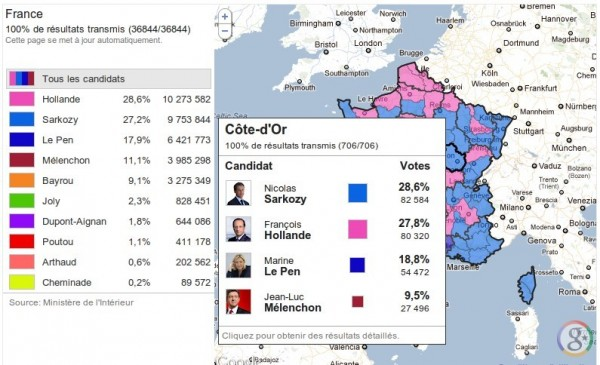 Election présidentielle 2012 : résultats par départements