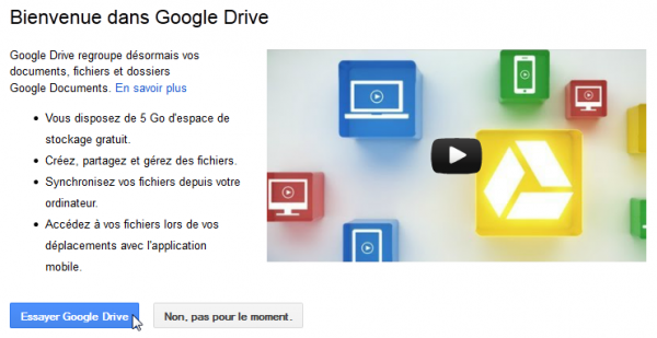 Inscription à Google Drive