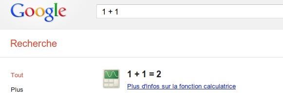 Utilisation de Google en calculatrice
