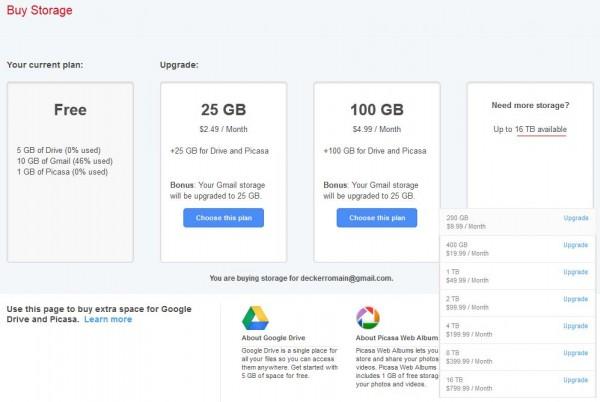 Achat d'espace supplémentaire pour Google Drive