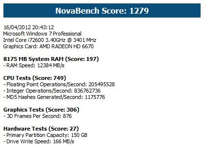 Performances de mon PC sur Novabench