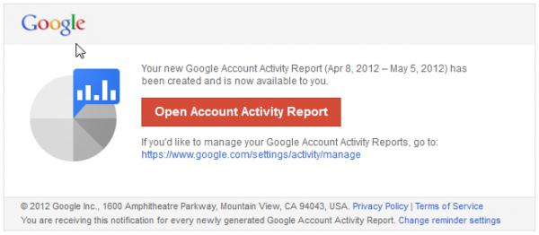 Google : votre rapport mensuel