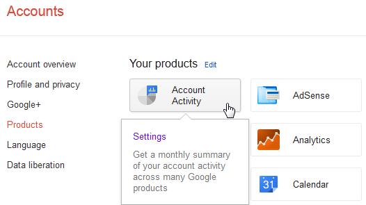 Google : activité de votre compte