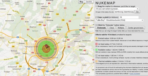 Impact d'une explosion nucléaire à Luxembourg