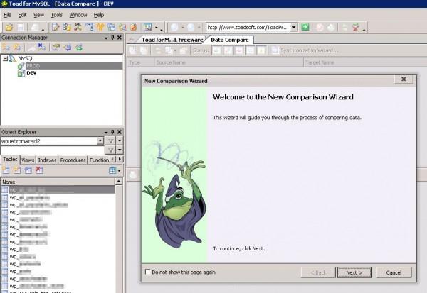 Toad : assistant de comparaison des données MySQL
