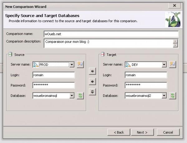 Toad : informations de connexion pour les bases à comparer