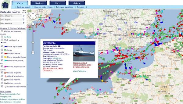 Trafic maritime en temps réel, et détails sur un navire