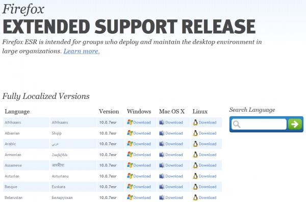Téléchargez une version de Firefox pour Entreprise : Firefox Extended Support Release