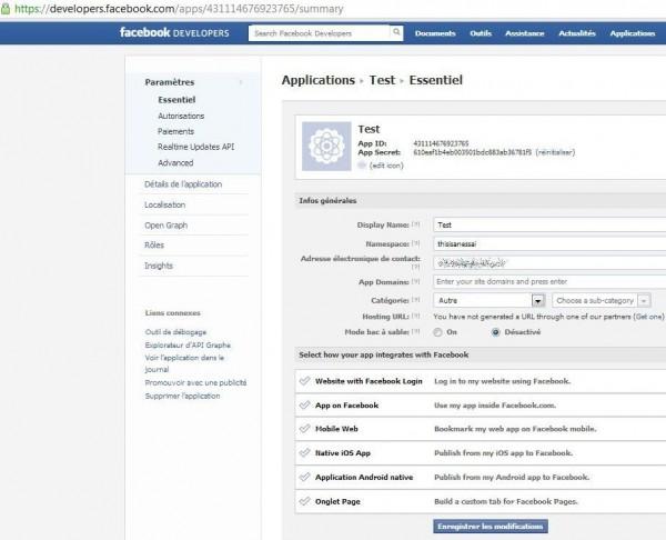 Application Facebook créée