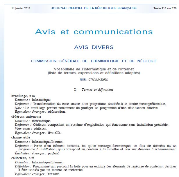 Nouvelle terminologie française de termes informatiques au JO