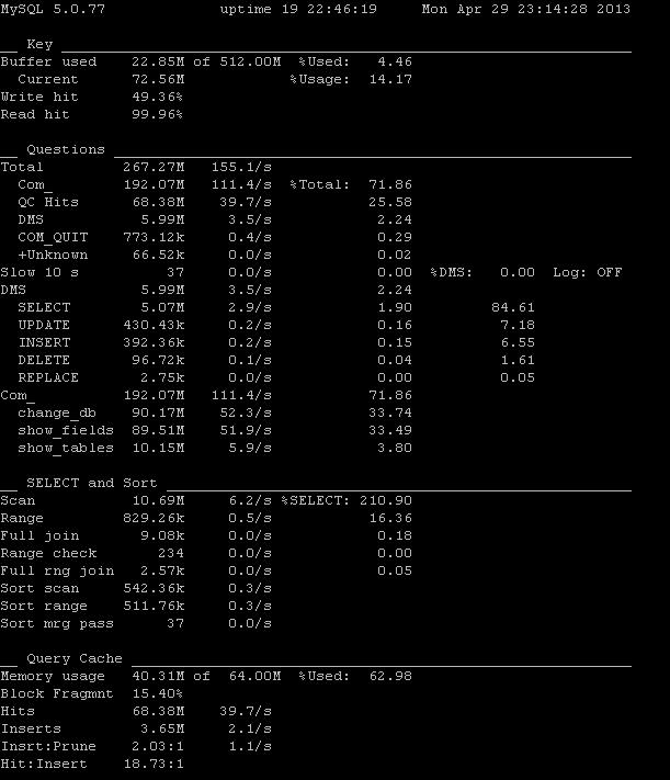 Afficher un rapport sur l'utilisation de votre serveur MySQL avec mysqlreport